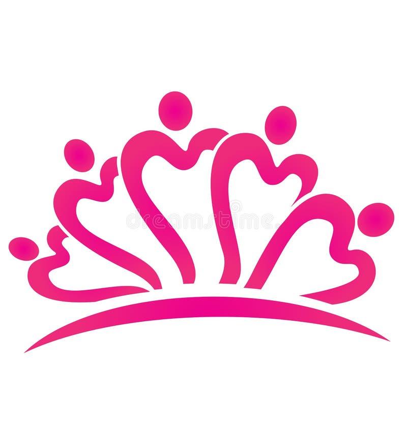 Różowy serce pracy zespołowej loga wektor royalty ilustracja