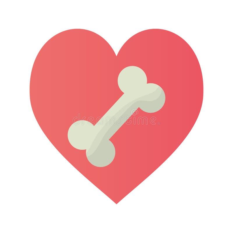 Różowy serce z kości jedzenia doggy ilustracja wektor