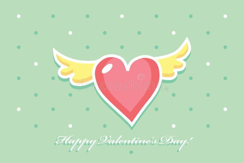 Różowy serce z kolorem żółtym uskrzydla na zielonym tle ilustracji