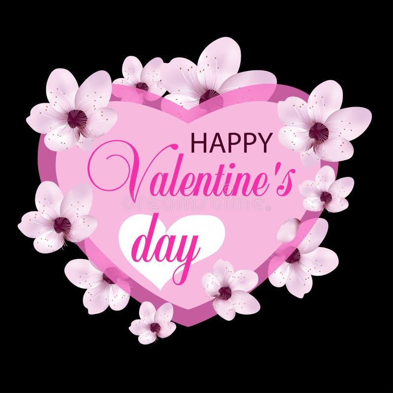 Różowy serce z pięknymi kwiatami Dekoracja dla plakatów, sztandarów lub kart walentynek dnia, wektor ilustracja wektor