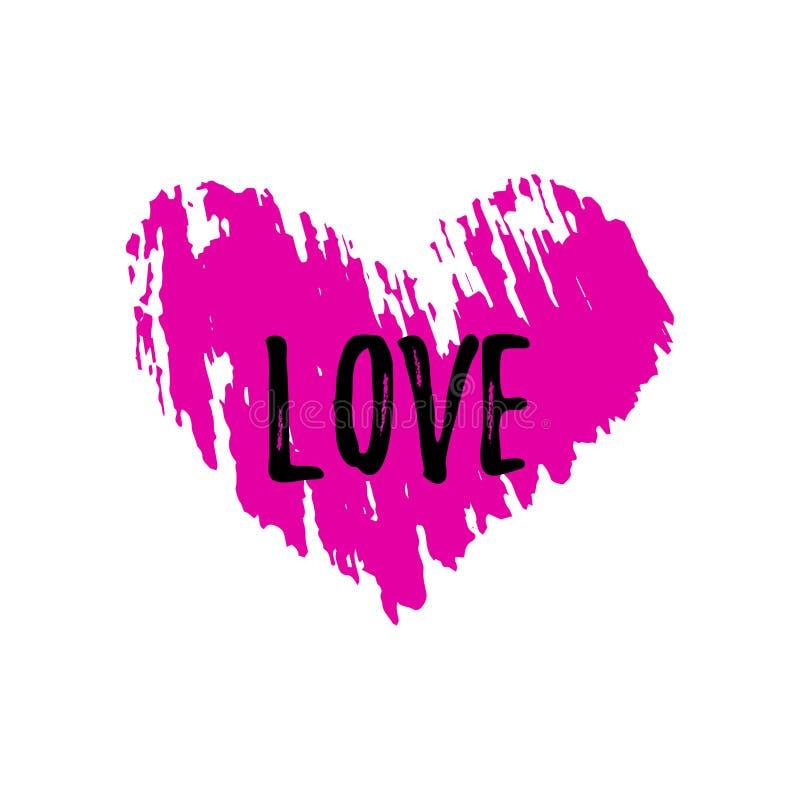 Różowy serce z teksturą i słowo miłością Skład dla walentynki ` s dnia ilustracji