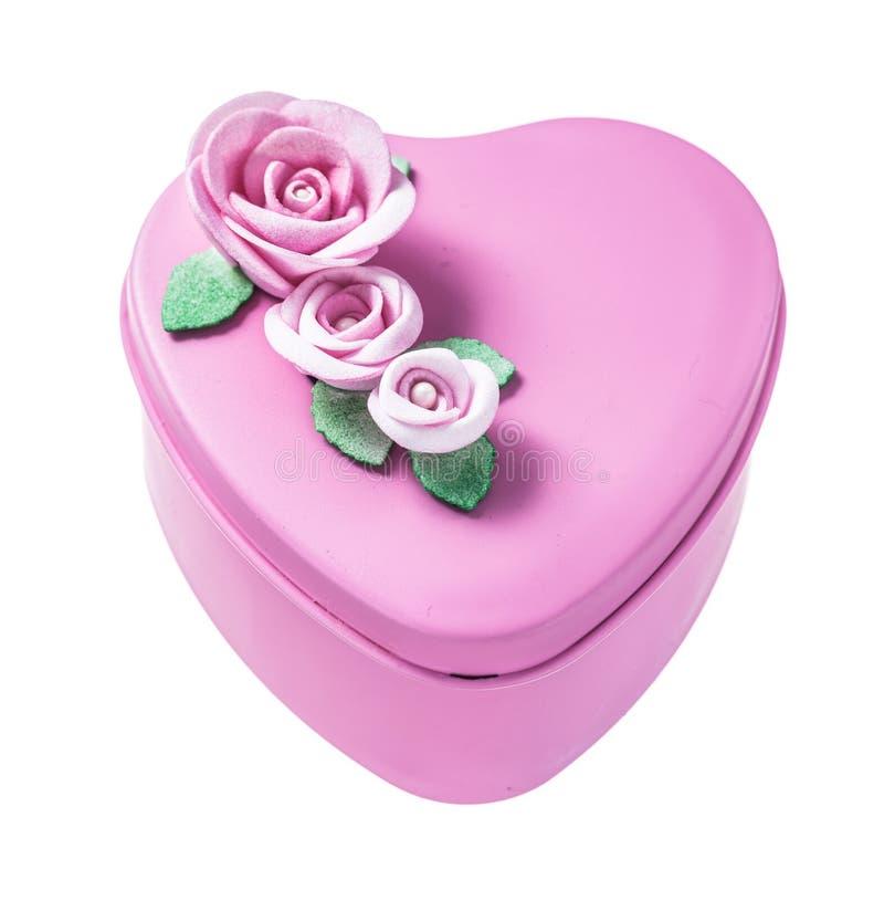 Różowy sercowaty prezenta pudełko odizolowywający na bielu zdjęcia stock