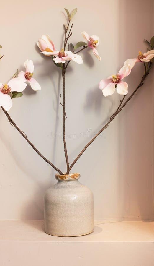 Różowy storczykowy kwiatu krzak w ceramicznej wazie z różowym tłem fotografia stock