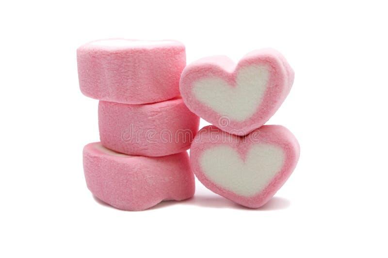 Różowy sympatia kształta marshmallow obrazy stock