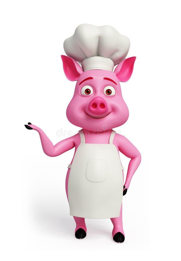 Różowy szef kuchni z przedstawiać pozę ilustracji