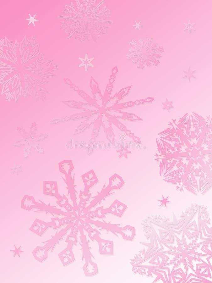 różowy tła płatek śniegu royalty ilustracja