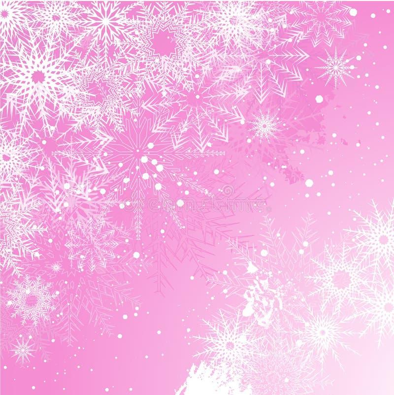 różowy tło płatek śniegu ilustracja wektor