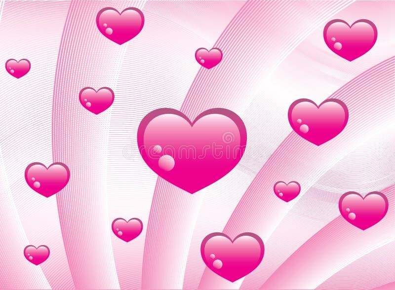 różowy tło serc ilustracja wektor