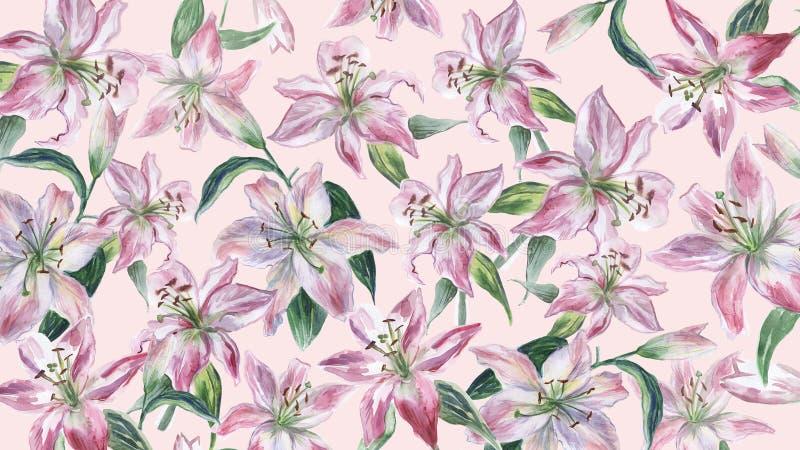 R??owy t?o z bielu i menchii akwareli lilys royalty ilustracja