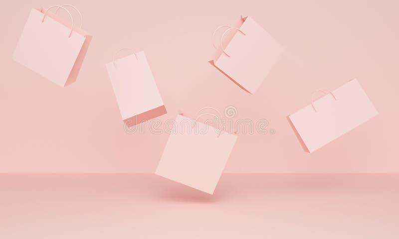 Różowy tło z latającymi torbami na zakupy ?wiadczenia 3 d royalty ilustracja