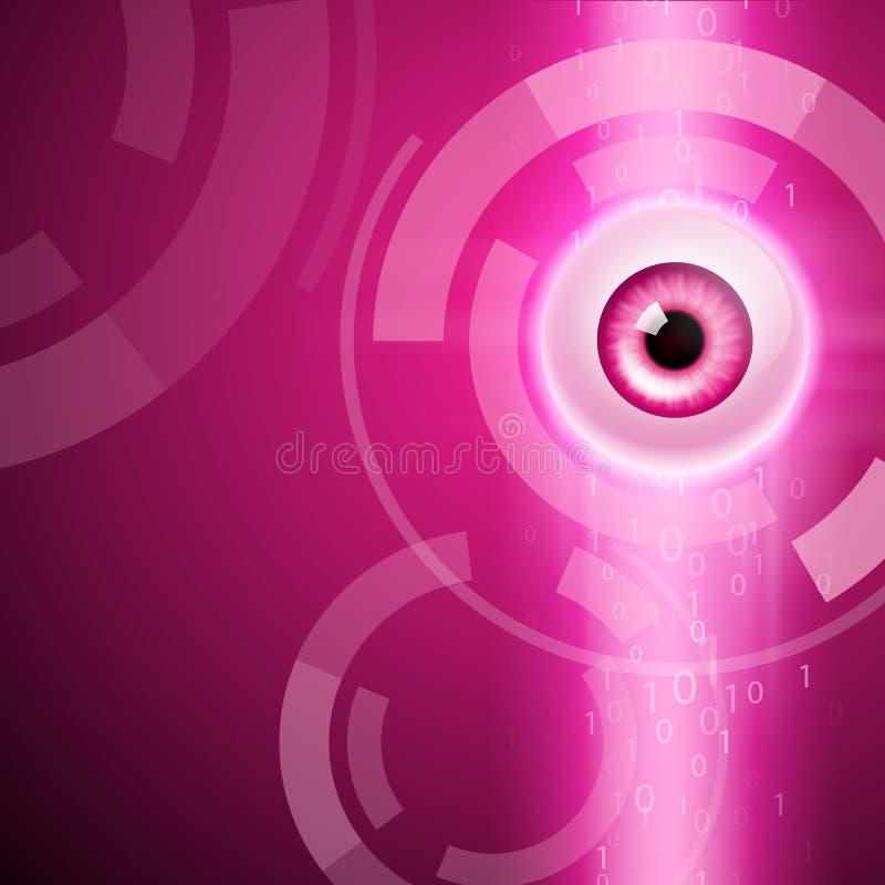 Różowy tło z okiem i binarnym kodem royalty ilustracja