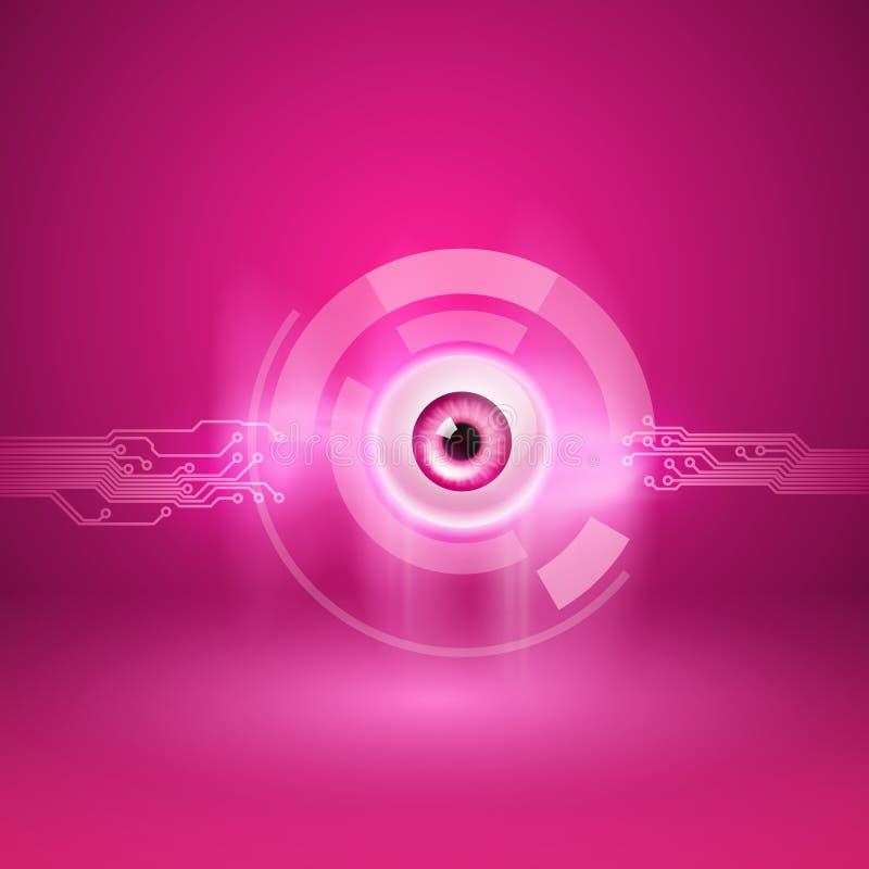 Różowy tło z okiem i obwodem ilustracji