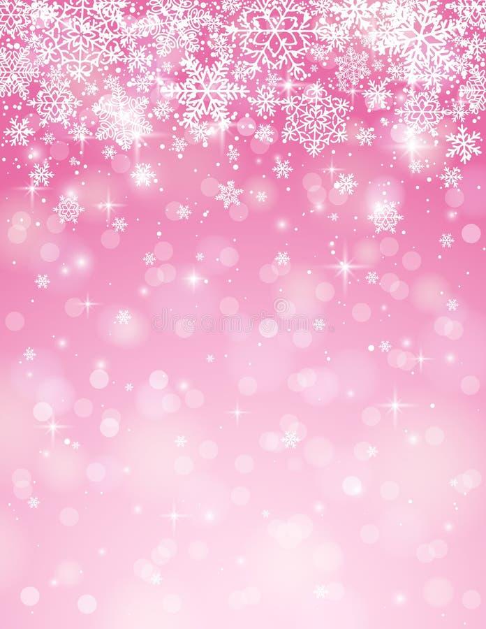 Różowy tło z płatkami śniegu, wektor ilustracji