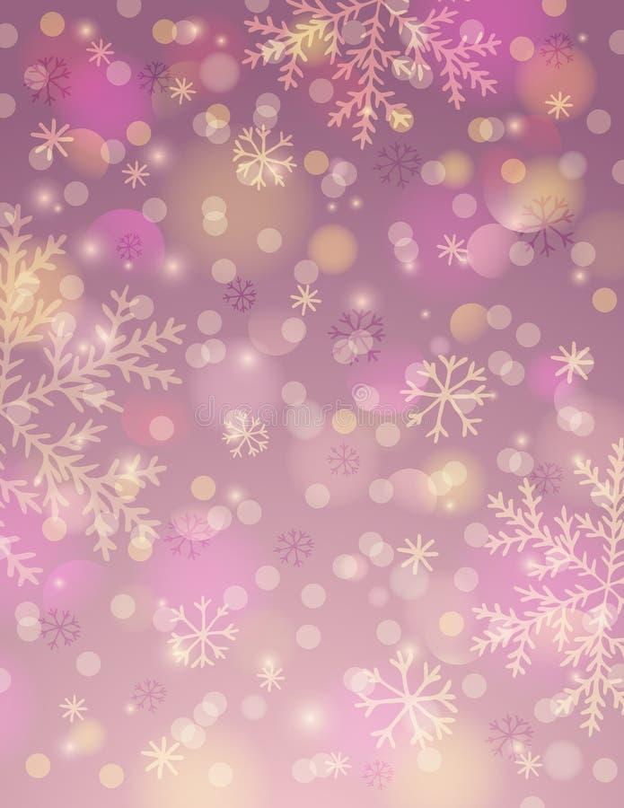 Różowy tło z płatkiem śniegu i bokeh, wektor ilustracji