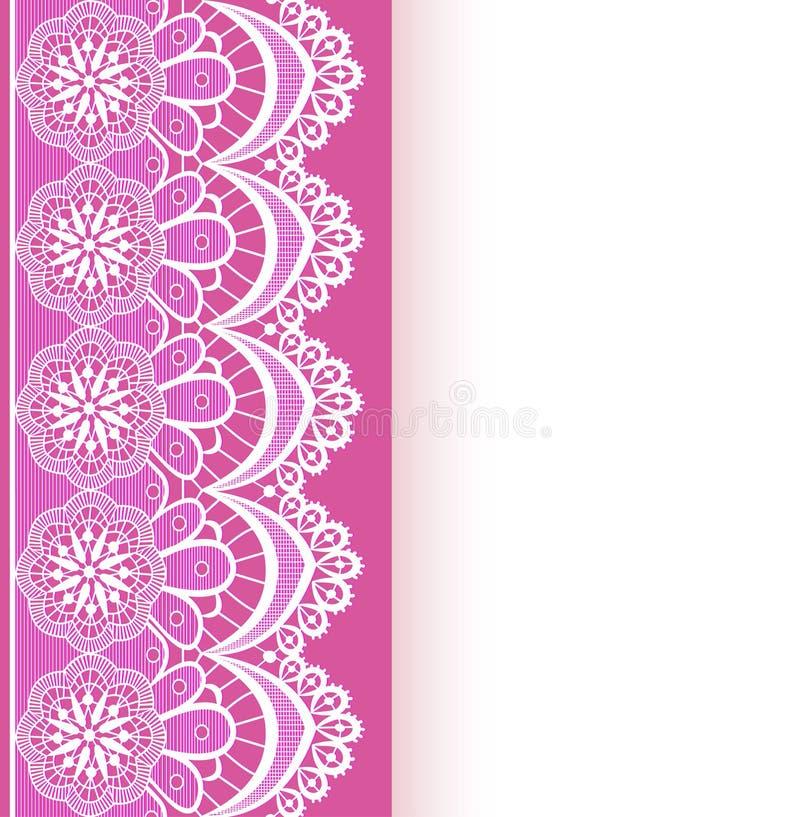 Różowy tło z paskiem koronka i miejscem dla teksta ilustracja wektor