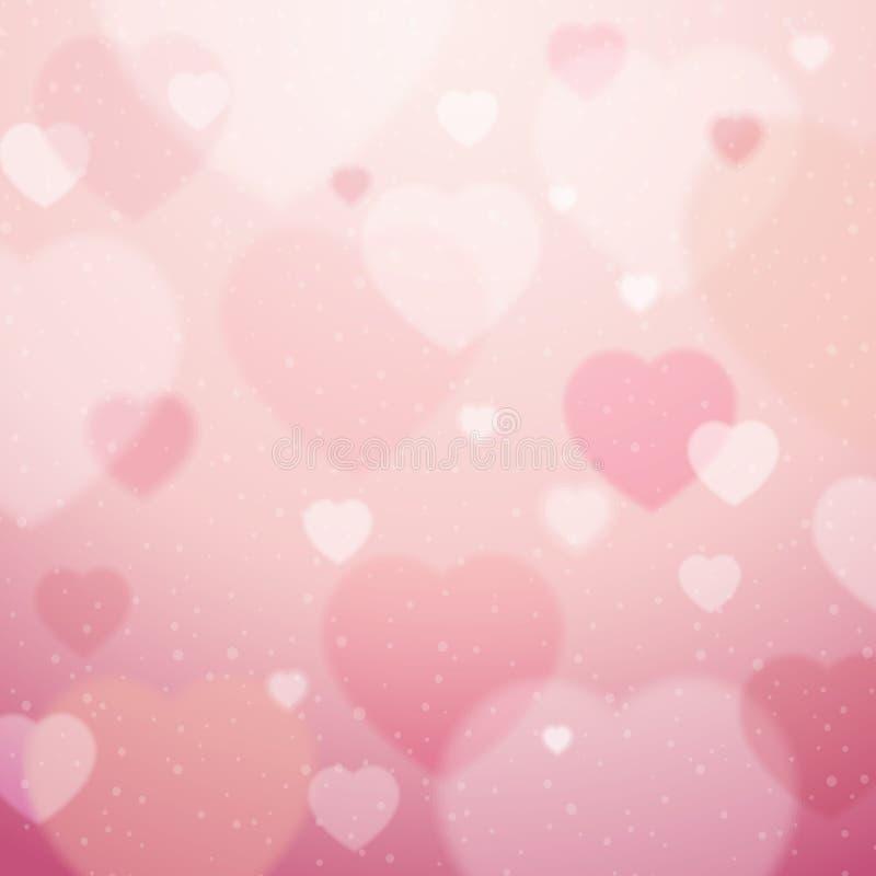 Różowy tło z valentine sercami, wektor royalty ilustracja