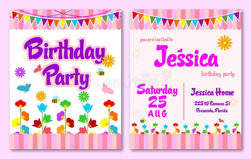 Różowy tematu kwiatu ogródu urodziny żartuje zaproszenie kartę zdjęcie stock