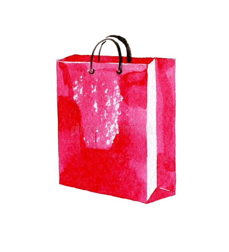 Różowy torba na zakupy Akwareli ilustracja odizolowywająca na białym tle ilustracji