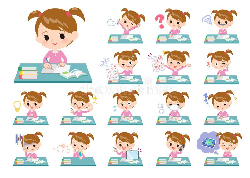 R??owy ubraniowy girl_study ilustracja wektor