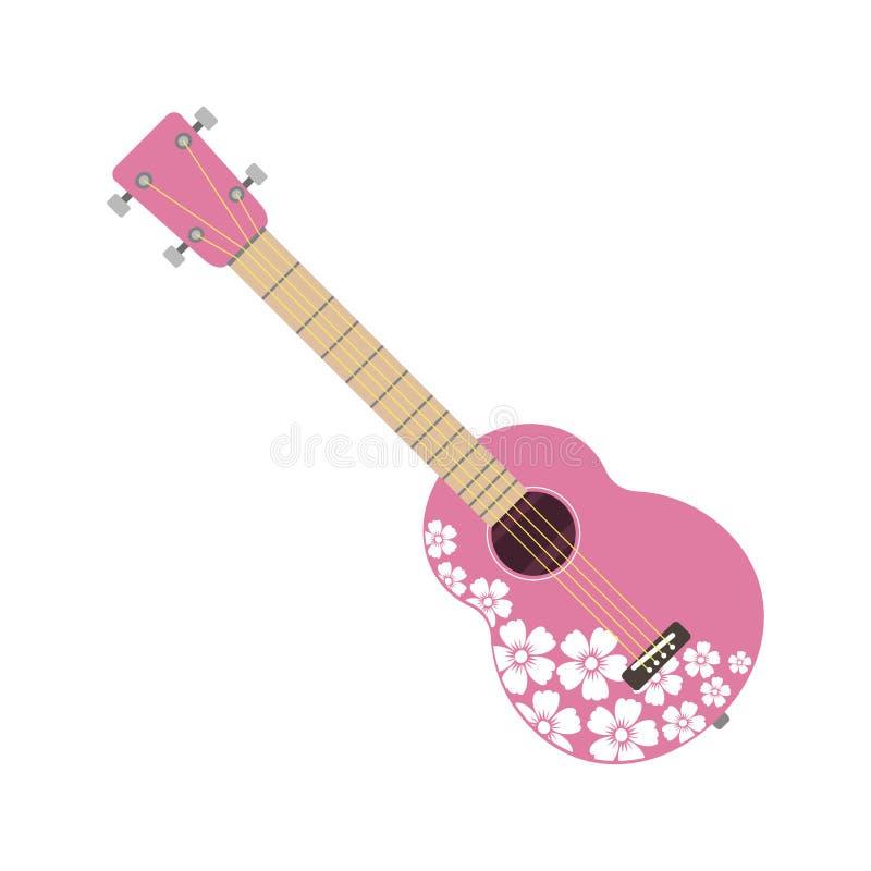 Różowy ukulele odizolowywający świetnej występ nawleczonej ludowej gitary sztuki muzyczny instrument i koncert muzykalna orkiestr ilustracja wektor