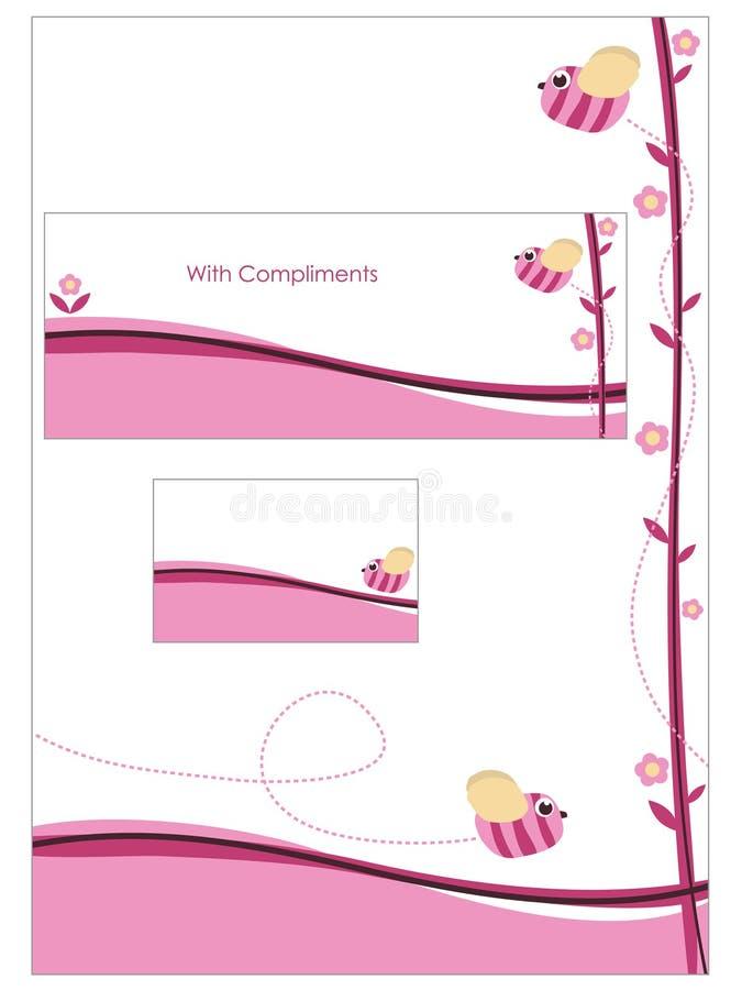 różowy ustalony materiały royalty ilustracja