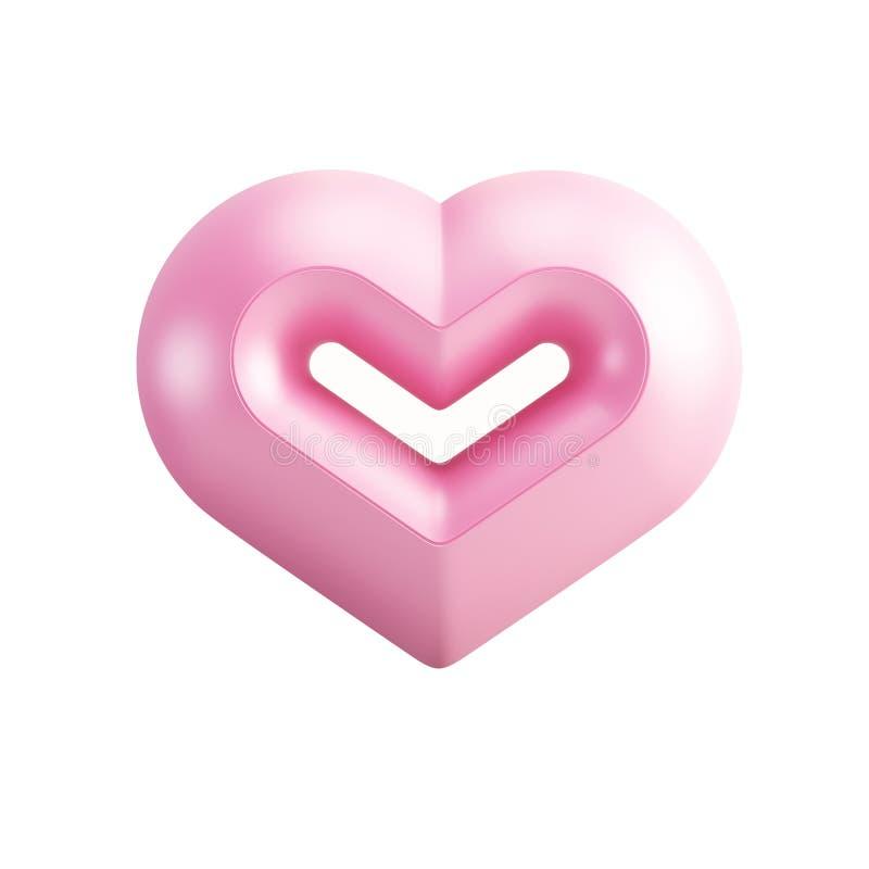 Różowy valentine serce ilustracja wektor