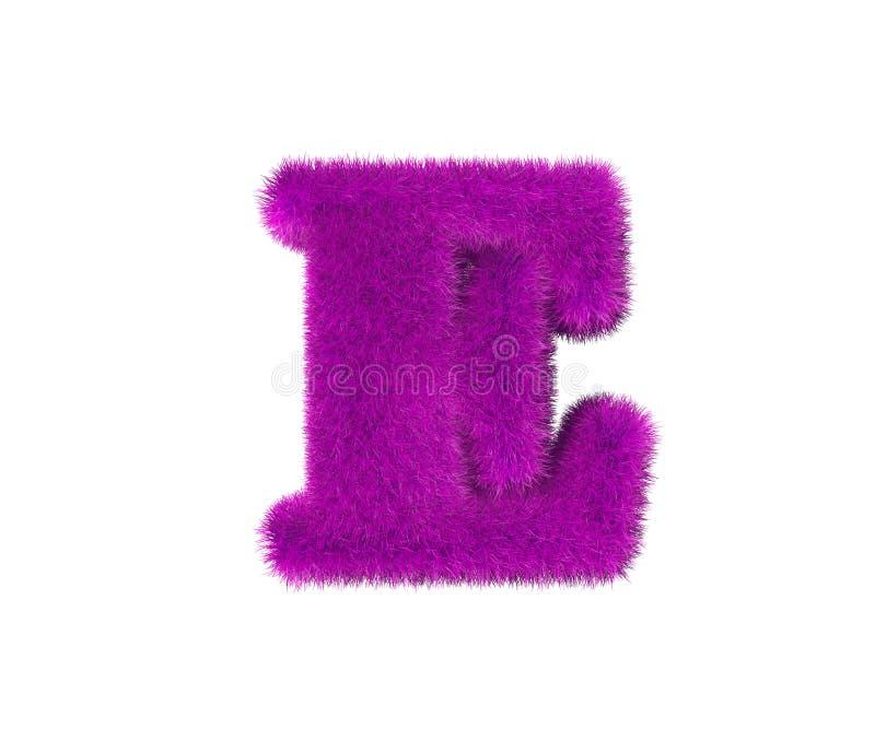 Różowy wełny abecadło odizolowywający na bielu - listowy E, mody pojęcia 3D symbole ilustracja ilustracji