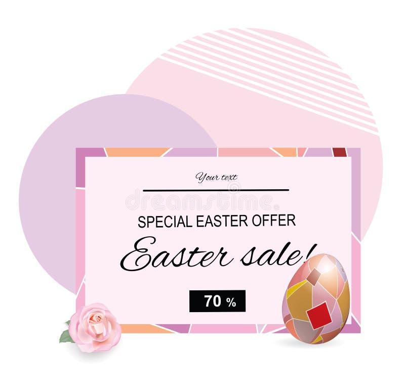 Różowy Wielkanocny sprzedaż sztandar Kwadratowa ornamentacyjna jajka i menchii róża miejsce tekst royalty ilustracja