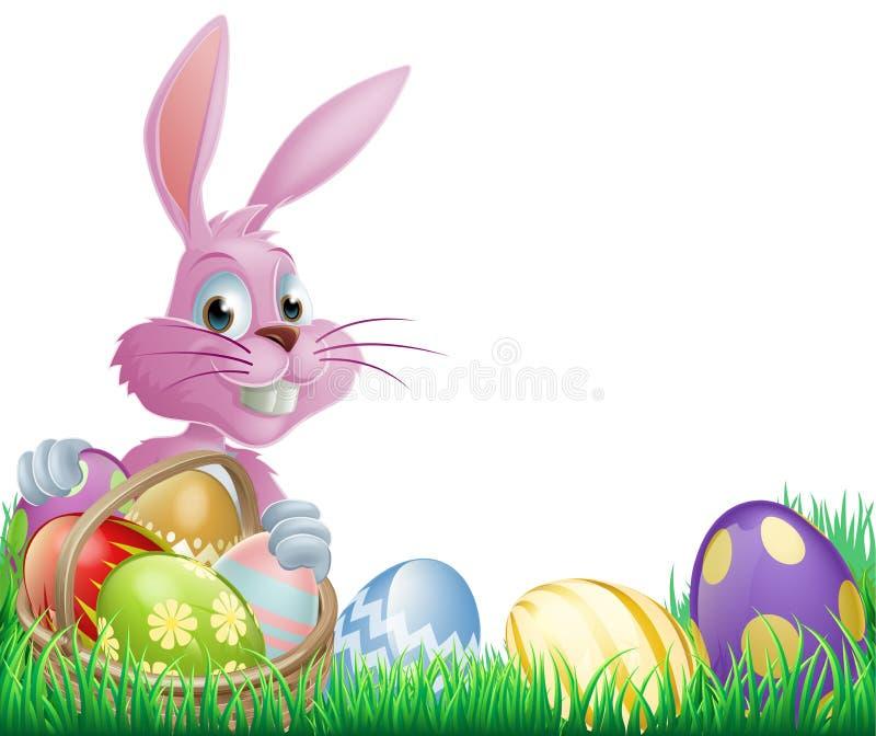 Różowy Wielkanocnych jajek królik royalty ilustracja