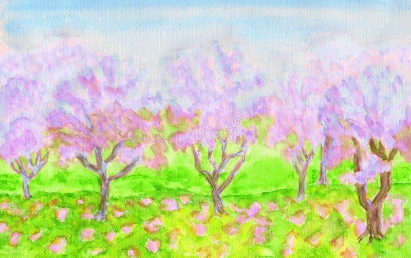 Różowy wiosna ogród, watercolours ilustracji
