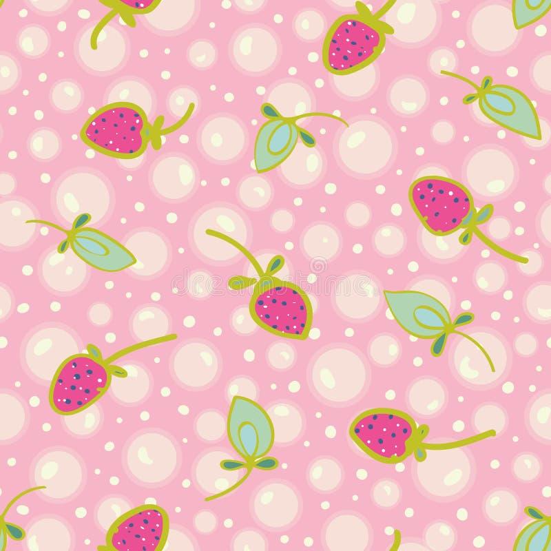 Różowy wzór z bąblem i truskawką royalty ilustracja