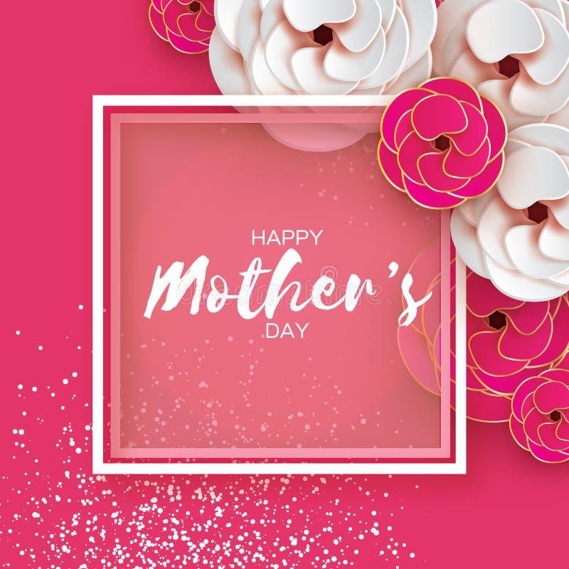 Różowy Złocisty Szczęśliwy matka dnia kartka z pozdrowieniami dzień kobiety s Papieru rżnięty kwiat Origami Piękny bukiet Kwadrat ilustracji