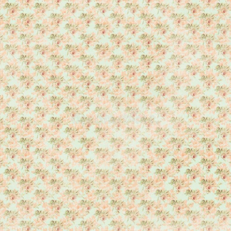 Różowy zieleni i błękita antykwarskich róż powtórki kwiecisty tło ilustracja wektor