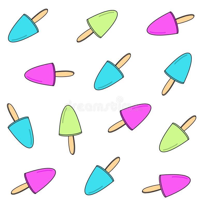 Różowy Zielony Błękitny lody marznąca owocowa kija tła tekstura Lato deserowa wektorowa ilustracja Ręka rysujący smakowity sztuka royalty ilustracja
