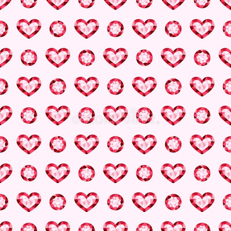 Różowych gemstones klejnotów wektorowy bezszwowy deseniowy tło ilustracji