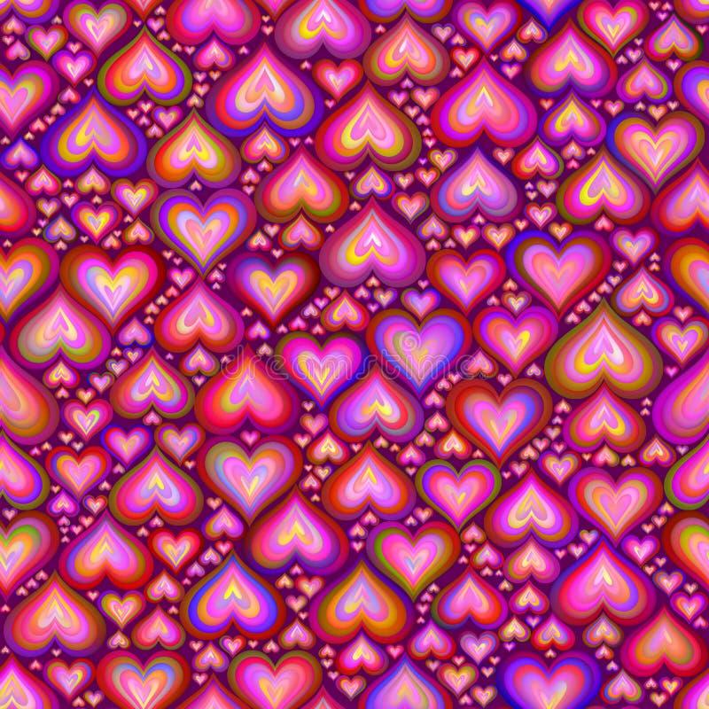 Różowych kolorów serc mozaiki Bezszwowy wzór obrazy royalty free