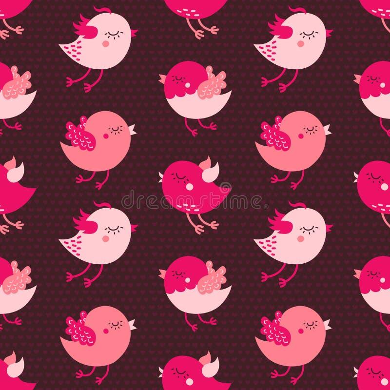 Różowych kreskówka ptaków wektoru bezszwowy wzór na ciemnym tle royalty ilustracja