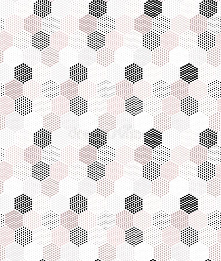 Różowych, popielatych i czarnych sześciokątów powtórki wektorowy bezszwowy wzór, ilustracji