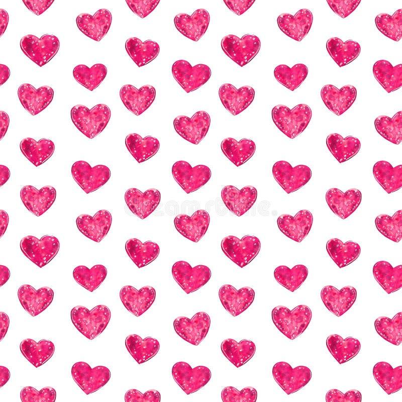 R??owych serc bezszwowy wz?r, akwareli ilustracja ilustracji