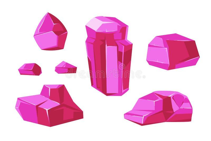 Różowych wektorowych kryształów biały tło dla mobilnych gier apps ilustracja wektor