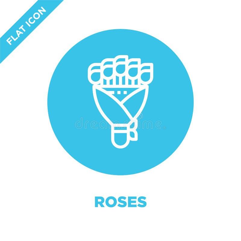 róży ikony wektor od miłości kolekcji Cienka kreskowa róża konturu ikony wektoru ilustracja Liniowy symbol dla używa na sieci i w ilustracji