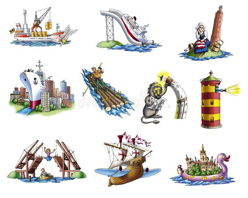 Download Różnorodnego 4 statku ilustracji. Ilustracja złożonej z kajak - 13338218