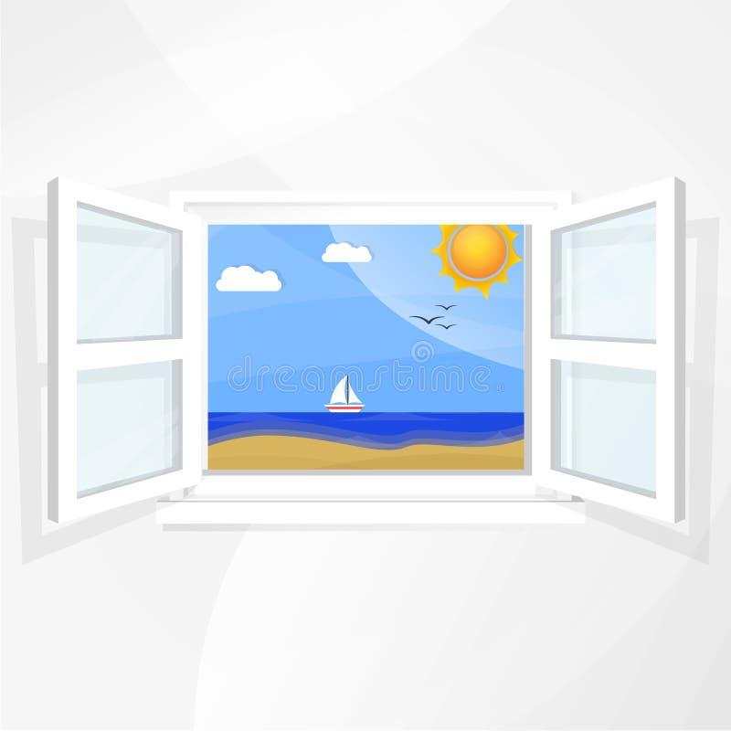Download Śródziemnomorski krajobraz ilustracja wektor. Ilustracja złożonej z niebo - 57653548