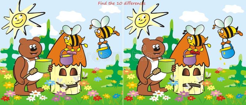 Rój i znalezisko 10 różnic ilustracji