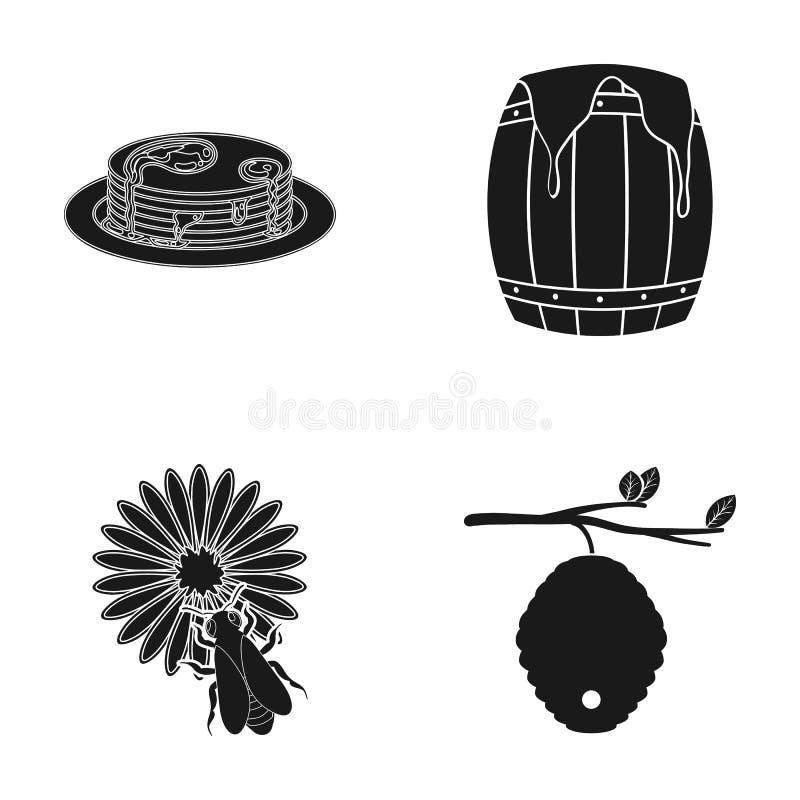 Rój na gałąź, pszczoła na kwiacie, honeycomb z miodem, miodowy tort Pasiek ustalone inkasowe ikony w czerń stylu royalty ilustracja