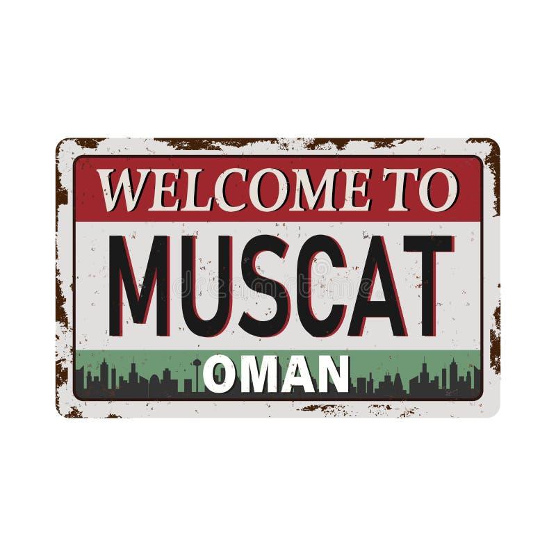 Rótulo de metal enferrujado com texto Muscat, Oman inside, ilustração ilustração stock
