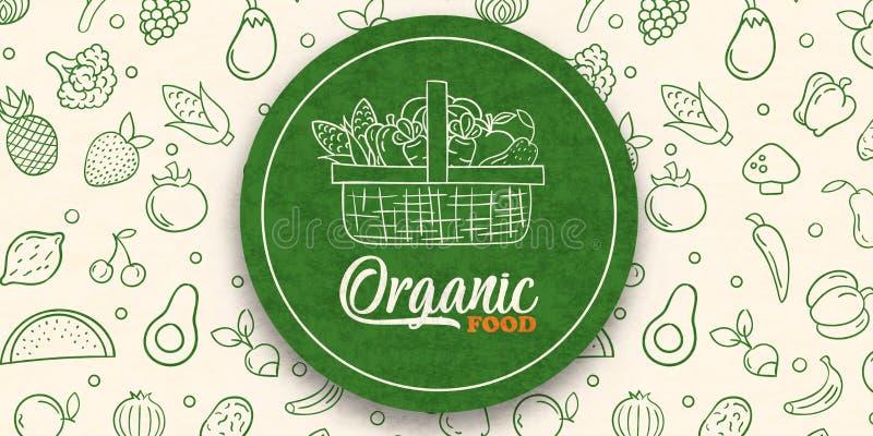 Rótulo verde para alimentos orgânicos em pano de fundo vegetal fotos de stock royalty free