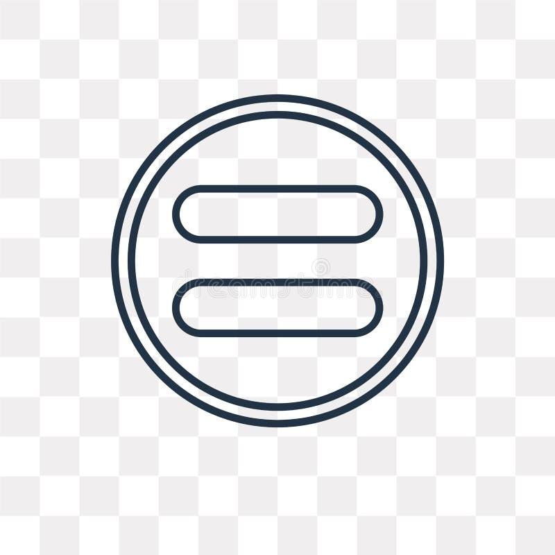Równa wektorowa ikona odizolowywająca na przejrzystym tle, liniowy Equ royalty ilustracja