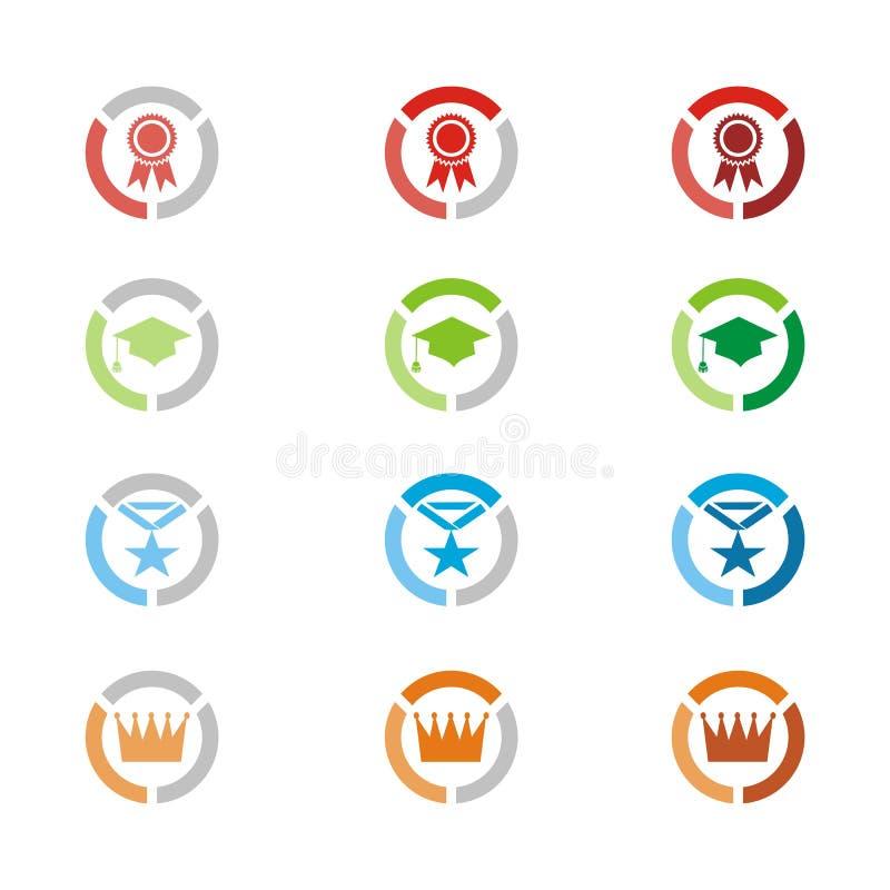 Równe ikony, równe odznaki ilustracji
