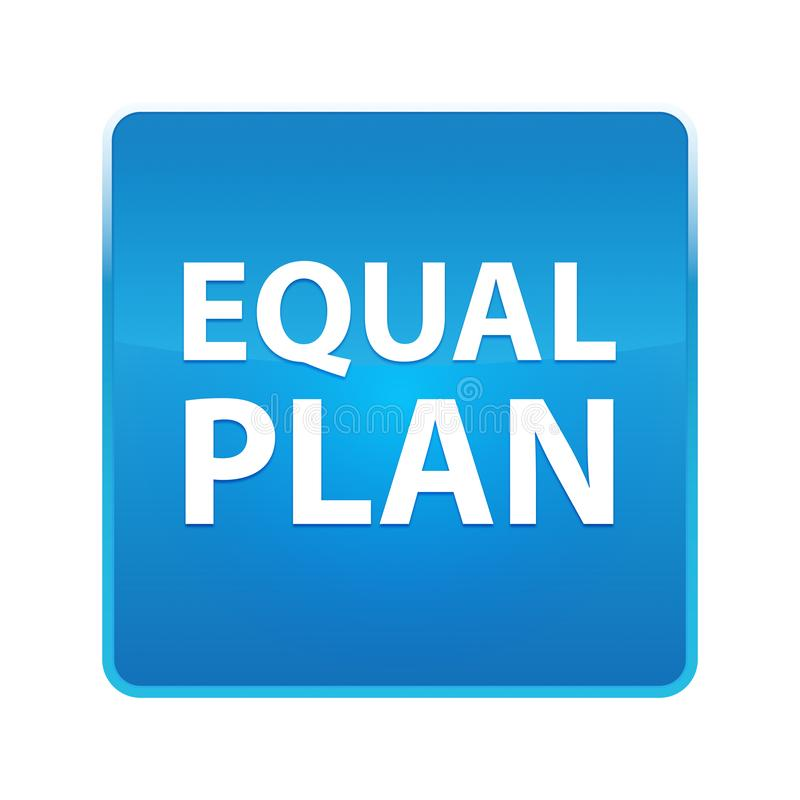 Równego planu błękita kwadrata błyszczący guzik ilustracji